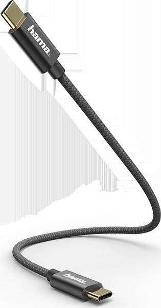 Hama 183333 0.2m USB-C - USB-C Şarj/Data Kablosu – Siyah