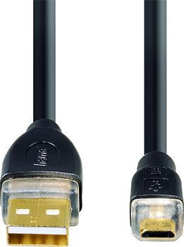 USB 2.0 A Fiş - Micro B Fiş  Altın Uç Siyah 0.7m