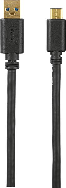 USB-C fiş - USB 3.1 A fiş, altın uçlu, 1.80 m