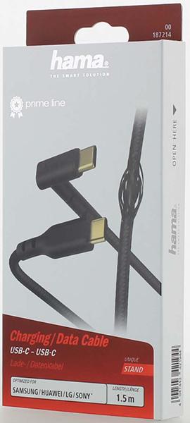 Hama 187214 1.5m USB-C - USB-C Stand Şarj/Data Kablo – Siyah