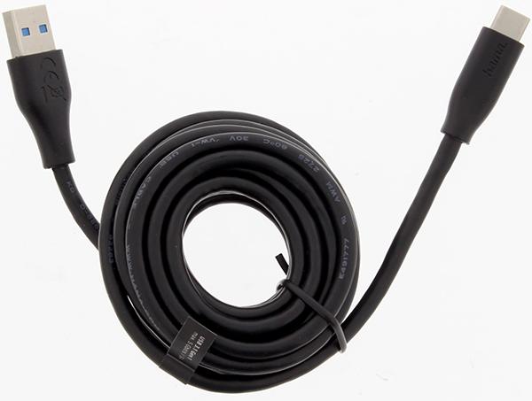Hama 183343 3m USB-C - USB A Şarj/Data Kablosu – Siyah