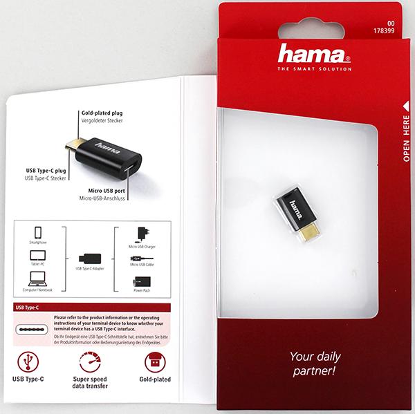 Hama 178399 Micro USB Soket- USB-C Fiş Çevirici Adaptör