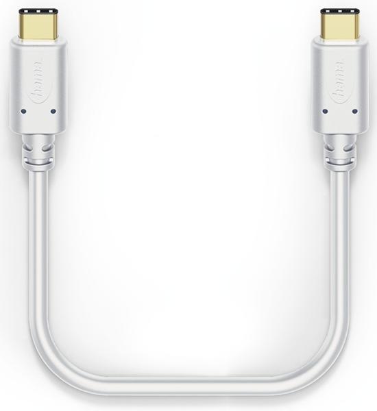 Hama 183332 0.2m USB-C - USB-C Şarj/Data Kablosu – Beyaz